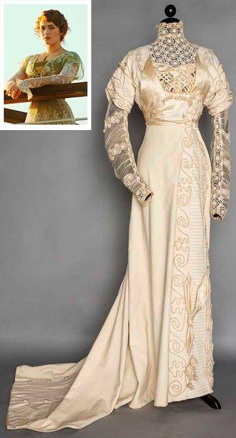 Vestido de 1912 moda perído eduardiano, com semelhanças ao figurino do filme titanic