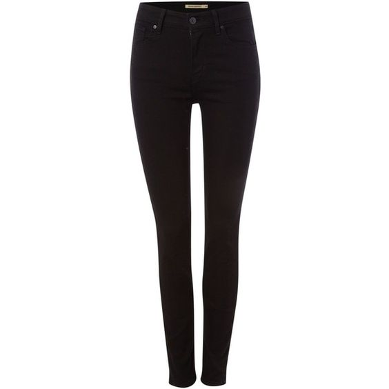 Levi&39s 721 high rise skinny jean in black sheep ($110) ❤ liked on