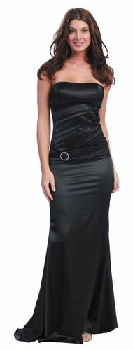 CLEARANCE - Sexy Black Strapless Elegant Formal Dress Satin Long ...