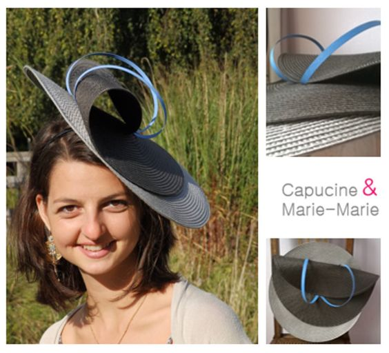 chapeau bibi mariage gris beige et joncs bleu ciel les chapeaux de capucine marie marie. Black Bedroom Furniture Sets. Home Design Ideas