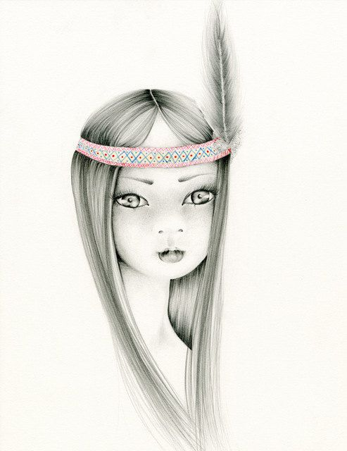 Native American Girl Fantasy Whimsical Drawing of a Native ...