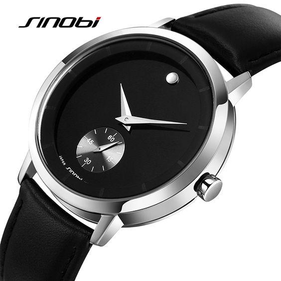 SINOBI Luxury Brand Men Quartz Watch Men's Genuine leather Full Stainless steel Japan Quartz Wristwatch relojes hombre 2016