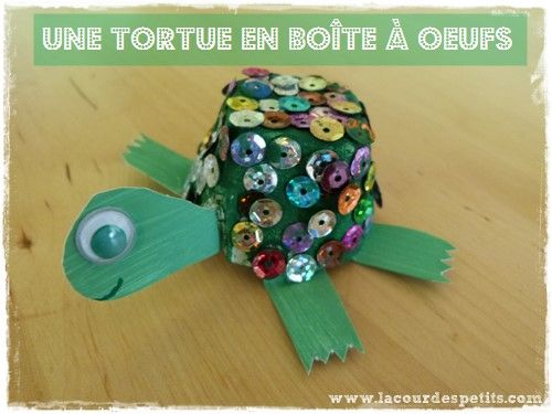 Bricolage tortue en boîte à oeufs |La cour des petits