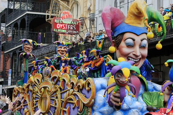 A float is seen in the parade down St. Charles Avenue on Mardi Gras Day, New Orleans