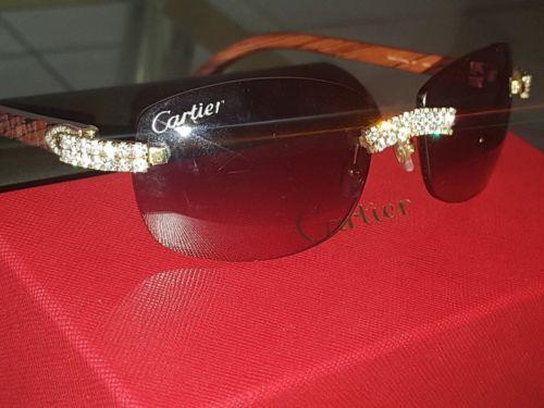 6da66680886 Custom Made Authentic Cartier Wood 14k Yellow Gold amp 5 00tcw Diamond  Sunglasses. Wood
