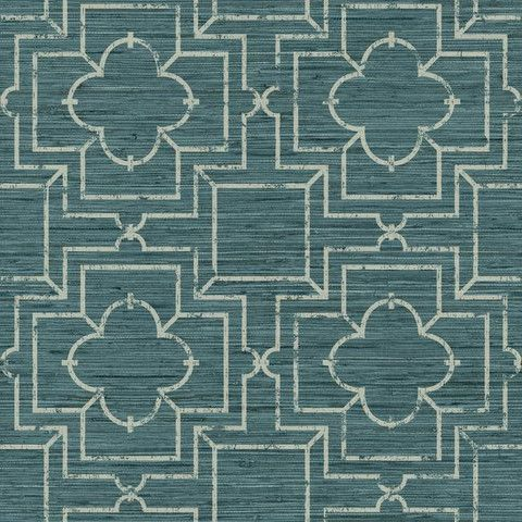 Irongate Trellis Wallpaper in Blue design by York Wallcoverings