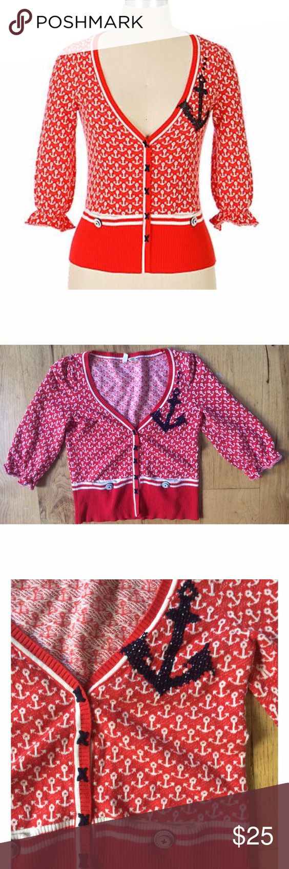"""EUC Anthropologie Moth Sailor Anchors Cardigan In really good pre-loved condition cardigan from Anthropologie Moth in size x-small. Features cute Sailor Anchors Print all over. 100% cotton. Measure about 18"""" length, 15"""" pit to pit, 14"""" sleeves. No snags or major flaws. Snap buttons closured. Run smalls. Best fits for a smaller petite person. ❌No trades or modeling. Open to reasonable offers. Thank you‼️ Anthropologie Sweaters Cardigans"""