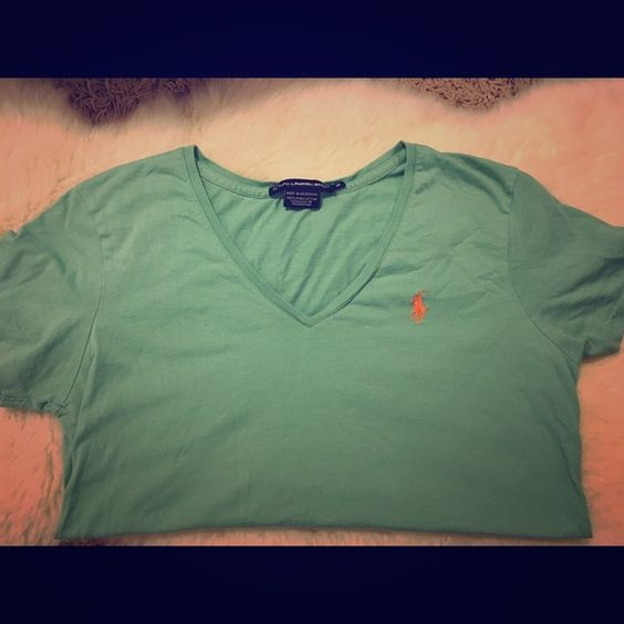 Ralph Lauren Sport Tee  Pima cotton fitted v-neck tee in light teal. EUC. orange embroidered logo. thanks for looking  make me an offer! Ralph Lauren Tops Tees - Short Sleeve