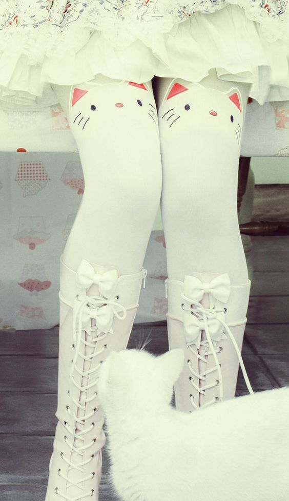 Kitty kawaii white cat tights | Cutesykink UK: