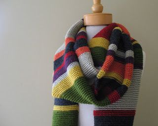 Dr Who Scarf - The original scarf was knitted in garter stitch. ( This one was made  in Tunisian Crochet in Purl stitch)