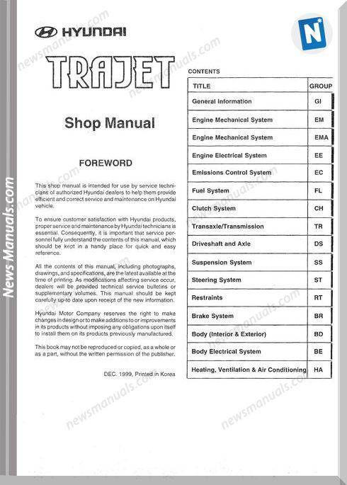 Hyundai Trajet Shop Manual Hyundai Electrical Diagram Repair Manuals