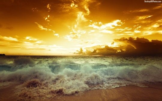 Beautiful Golden Beach Sunset Waves,Photo,Images,Pictures,Wallpapers