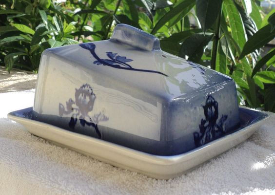 Vintage Butter Cheese Dish Blue and White Ironstone Staffordshire England LadyWe