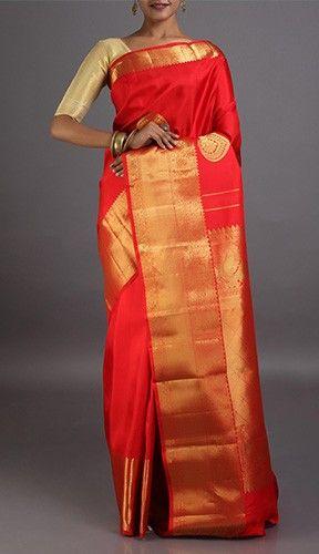 Madaakini Red Bridal Dharmavaram Pure Silk Saree