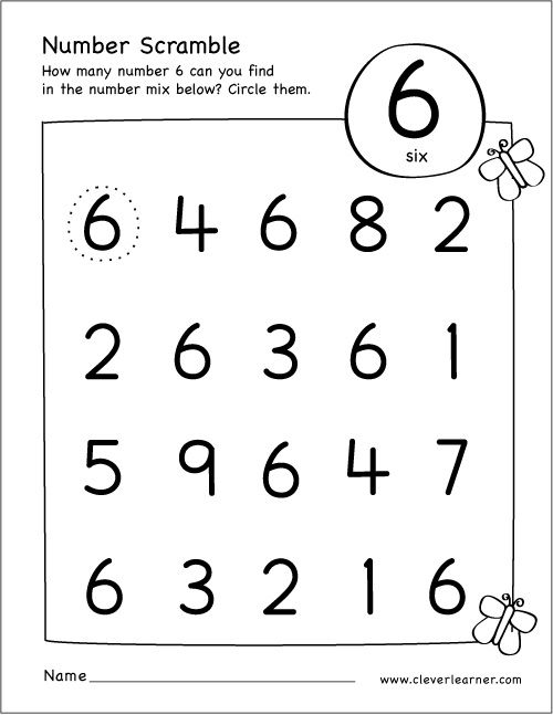Free Printable Scramble Number Six Activity Math Activities Preschool Numbers Preschool Preschool Worksheets