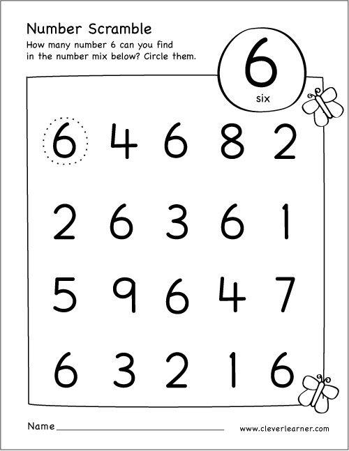 Free Printable Scramble Number Six Activity Numbers Preschool Preschool Worksheets Math Activities Preschool