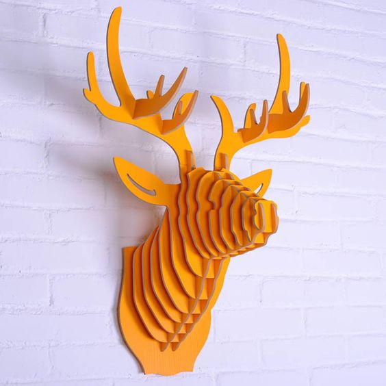 T te d 39 animal en bois mur pendaison t te de cerf for Decoration murale tete animaux