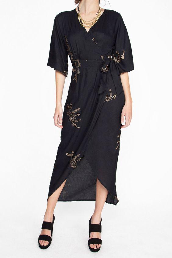 Cherry Blossom Print Maxi Wrap Kimono Dress