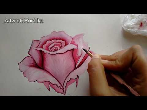 Pink Rose Painting Step By Step Rose Flower Painting Youtube