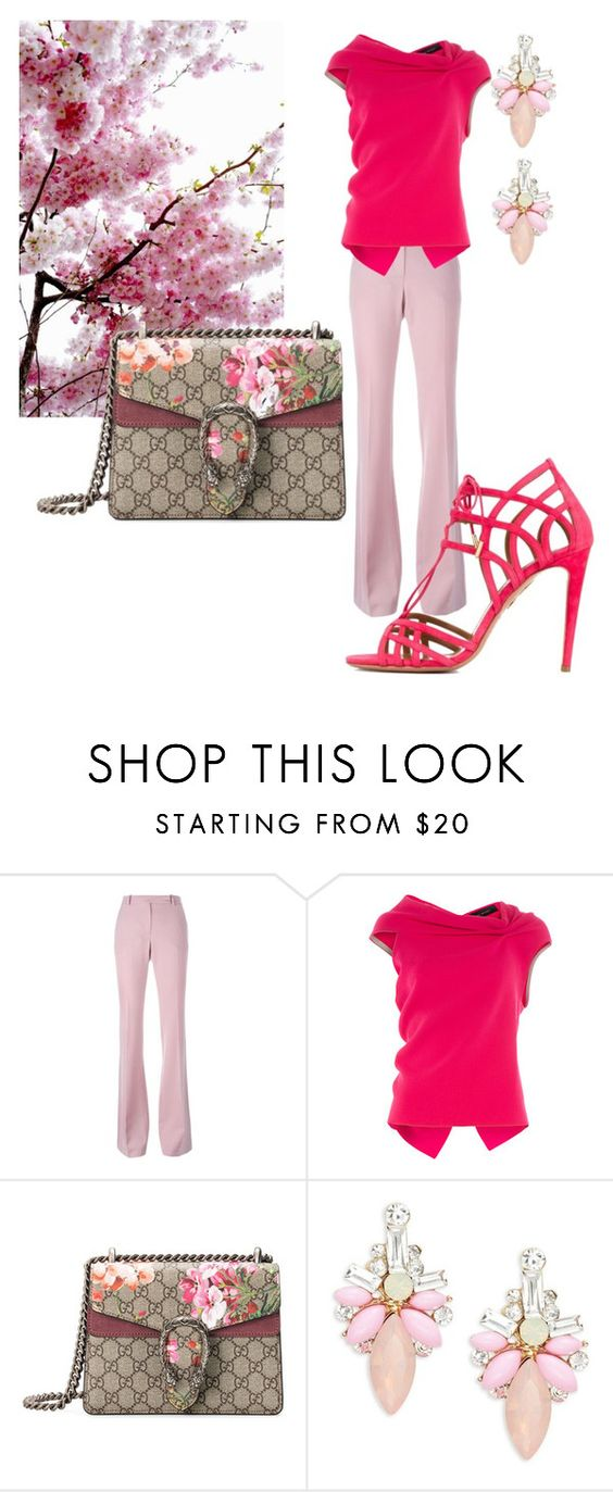"""""""Untitled #40"""" by cslewis-76 ❤ liked on Polyvore featuring Alexander McQueen, Roland Mouret, Gucci, Cara and Aquazzura"""