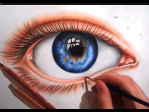 Drawing an Eye using Colored Pencils - YouTube