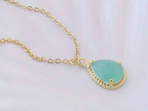 Gold Mint Necklace Mint Green Necklace Gold by Crystalshadow, $24.00