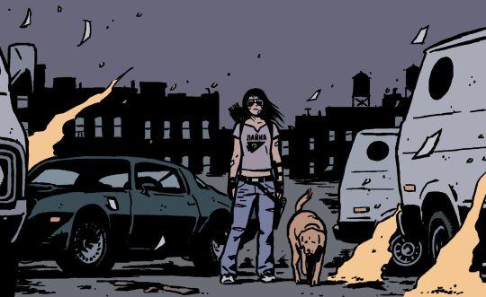 Hawkeye #22 (2015)  written by Matt Fraction art by David Aja & Matt Hollingsworth