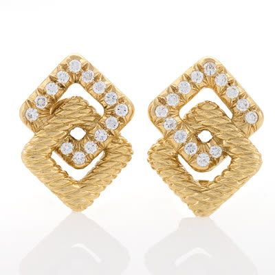 Van Cleef & Arpels Diamond and Gold Estate Ear Clips. Available exclusively at Macklowe Gallery.