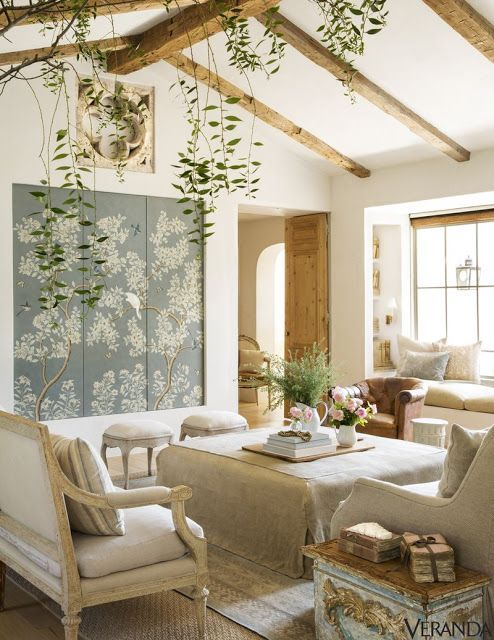 12 European Farmhouse Rustic Decorating Ideas. Interior design inspiration: Modern farmhouse living room at Patina Farm with French Country, European Country and Scandinavian influences. Belgian linen furniture, Gracie studio handpainted wallpapered panels, rustic beams, and white oak hardwood floors. #modernfarmhouse #livingroom #patinafarm #Frenchcountry #Giannettihome #Belgianlinen