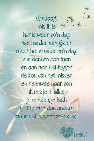 Super gedicht - vandaag mis ik je (met afbeeldingen)   Prachtige woorden IR-23