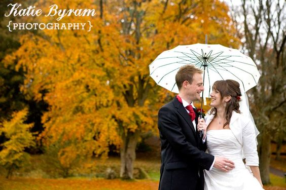 Rainy Autumn Wedding Day at Langley Castle, Northumberland, Autumn Wedding, Wedding umbrella