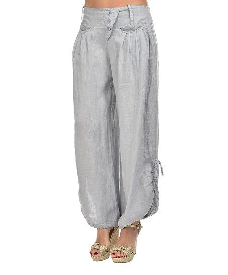 Gray Rolled-Hem Linen Wide-Leg Pants - Plus Too | Linens, Linen ...