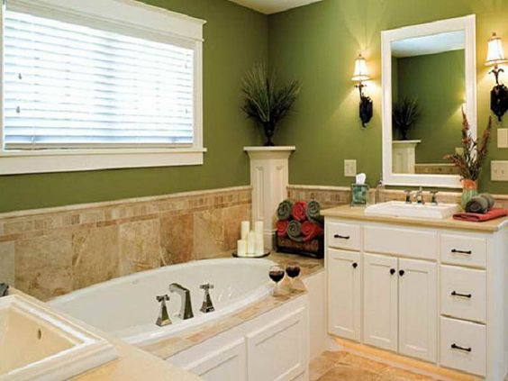 green paint bathroom  light tan tile. green paint bathroom  light tan tile   remodel   Pinterest
