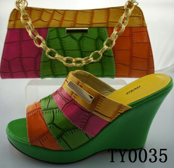 Green Italy Design Summer Shoes Matching Bag Factory Price Shoes ...