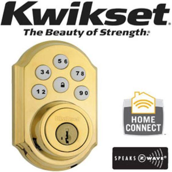KWIKSET SMARTCODE KEYLESS ENTRY W/ Z-WAVE 910 Polished Brass Gold Deadbolt Lock #Kwikset