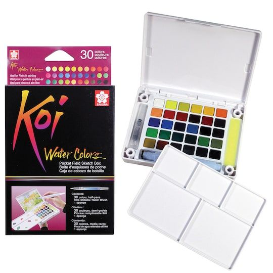 Koi Water Colors Pocket Field Sketch Box 30 Colors Paint By