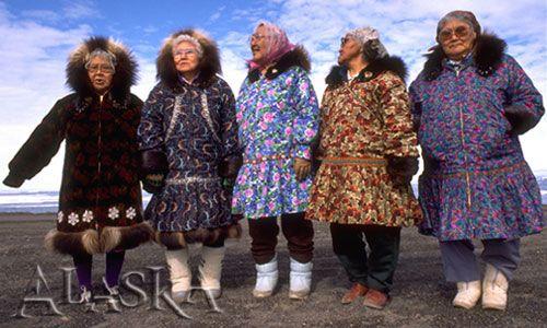 Eskimo ladies wearing kuspuks