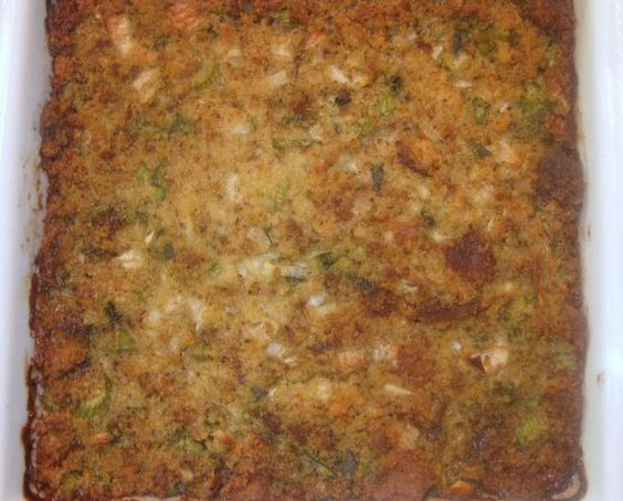 Southern Corn Bread Dressing from Food.com: Me and a dear friend of mine who is no longer with us, made this dressing for 17 years at Thanksgiving. I still make it and it brings back wonderful memories of her and I laughing, chopping, mixing and tasting. This is a terrific recipe. Hope you make this recipe and make your own memories.