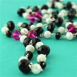 Black, White, and Fuchsia Buxom Necklace