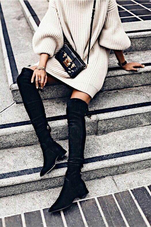 Overknee boots | Knitwear | Dress | Fall outfit | Autumn