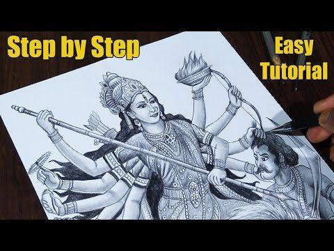 How To Draw Durga Maa Step By Step Easy Tutorial 2019 Youtube Easy Tutorial Durga Maa Pencil Sketches Easy