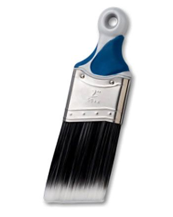 "BRUSHES :: Sherwin Williams Premium XL Polyester Tight Spots Short Handle :: 2"" brush good for use in all paints. Tapered to a sharp edge. Polyester filaments are durable & easy to clean. Ergonomic rubberized handle reduces hand fatigue. Short handle is easy to maneuver & fits into tight spaces i.e. corners, closets & cabinets. :: A great all around brush for refinishing & all painting projects! 