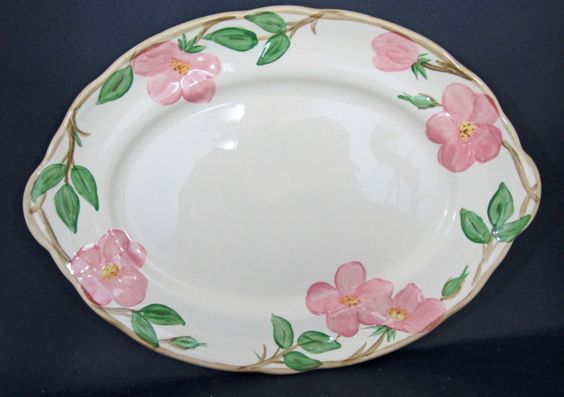 """Vintage Franciscan Ware Desert Rose Large Oval Serving Platter 14"""" x 10"""" Perfect Condition by AnneMackPottery on Etsy"""