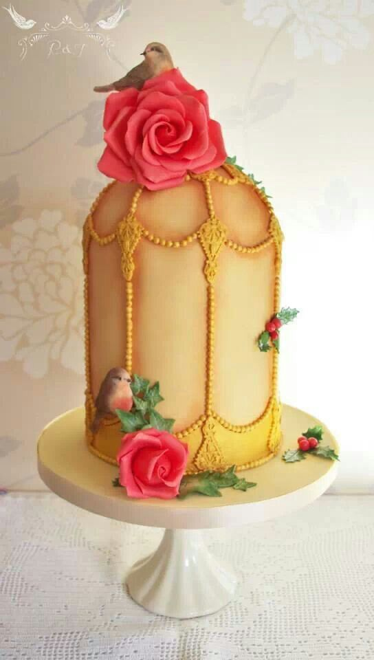 Christmas birdcage cake - Romeo & Juliet Cakes - holly, gold, robin,red roses,vintage