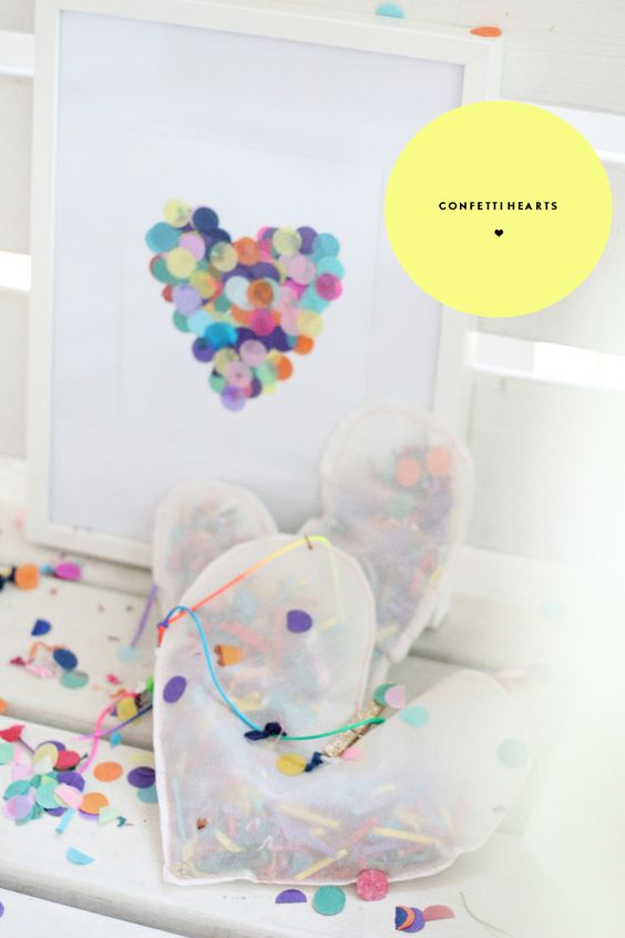 PJ Night Activity: Confetti Hearts! We love this sweet and simple art project! #pjnight