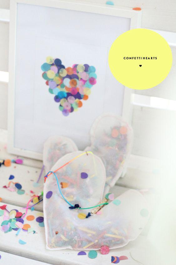 PJ Night Activity: Confetti Hearts! We love this sweet and simple art project! #pjnight