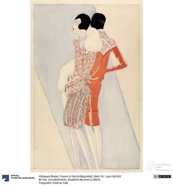 Women in afternoon dress, drawing by Hildegard Bader, 1928 ca. Photo: Dietmar Katz, Kunstbibliothek, Staatliche Museen zu Berlin, CC-BY-NC-SA