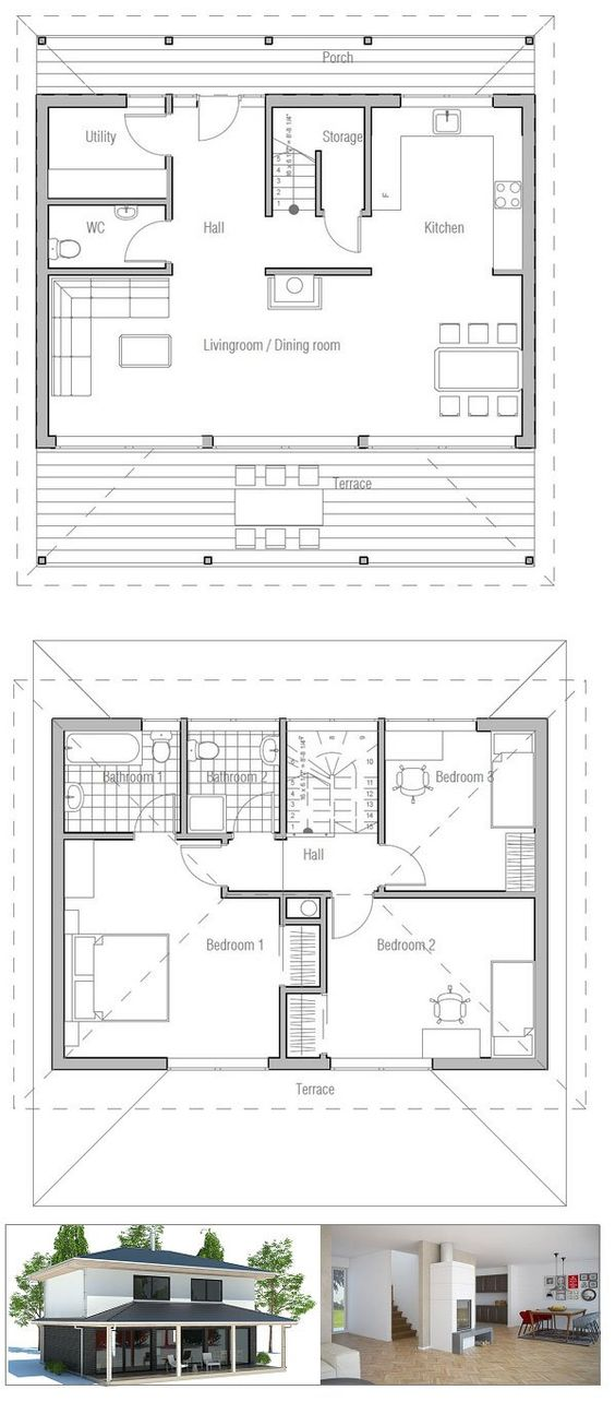 Small house plan with open and efficient room planning for Small living room floor plan