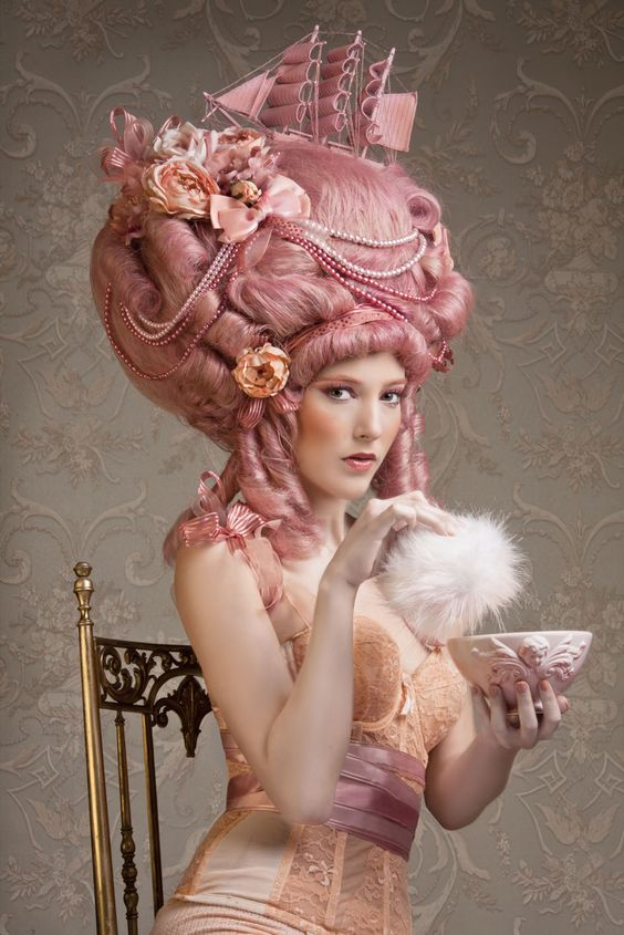 """Plenty of Pink Pouf Power! """"Marie Antoinette   Styling for make up school - Yossi Biton"""" Stare worthy rating: 6 eyeballs: straight to my hairdresser to copy this!"""
