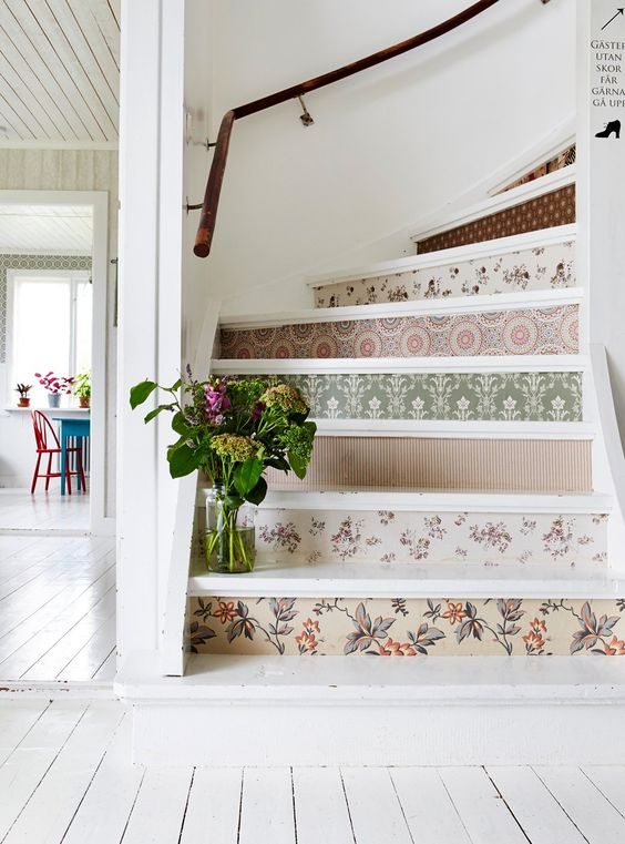 DIY Wallpaper Your Stairs Staircase makeover ideas wallpapered stair risers shabby chic staircase
